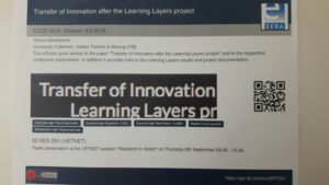 "Mini-poster ""Transfer of Innovation after Learning Layers"""